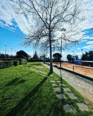 🍀🎾☀️ #green #nature #sky #tenniscourt #lesraquettes #tennisacademy #skg #greece #beautifulplaces